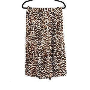 EXPRESS High Waisted Pleated Leopard Midi Skirt 6